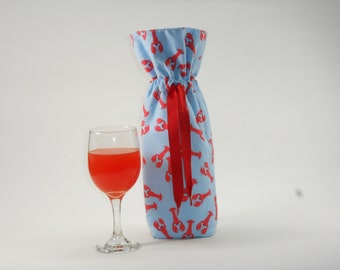 Lobsters on Light Blue Insulated Wine Bag