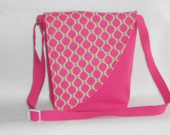 Crossbody Bag - Pink bag with pink and tan print flap