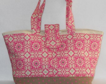 Day Bag - Pink Floral w/ Beige Lining