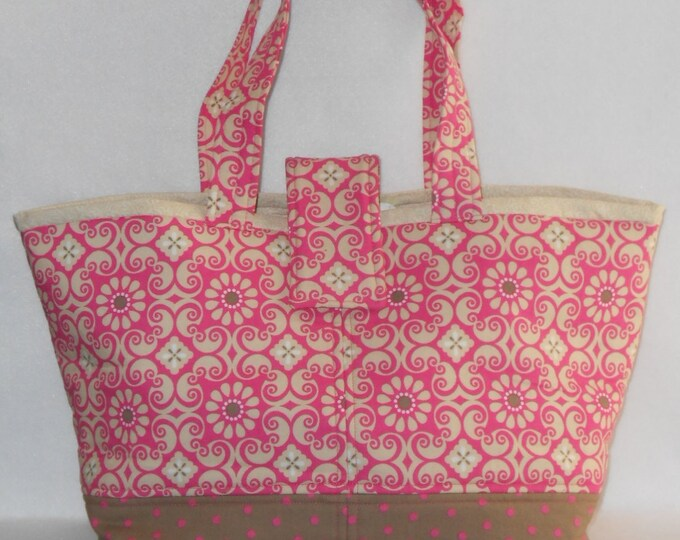Featured listing image: Day Bag - Pink Floral w/ Beige Lining