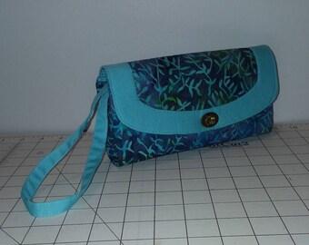 Blue Green Leaf Batik Necessary Clutch Wallet