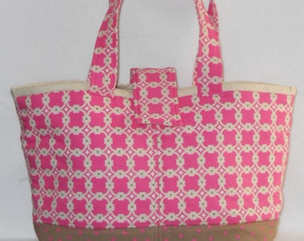 Day Bag - Pink Medallion w/ Beige Lining