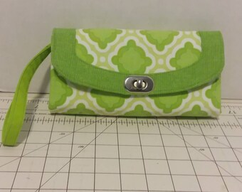 Lime Green Medallion Necessary Clutch Wallet