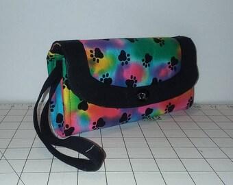 Neon Tie Dye with Black Paw Prints Necessary Clutch Wallet