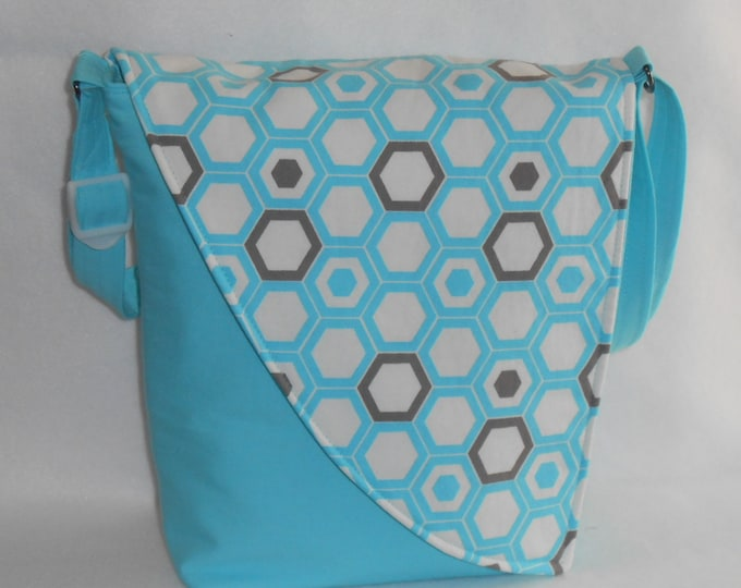 Featured listing image: Crossbody Bag - Blue Base with Blue & Taupe Hexagon Pattern Flap