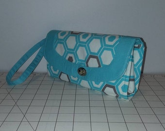Blue & Taupe Hexagon Necessary Clutch Wallet