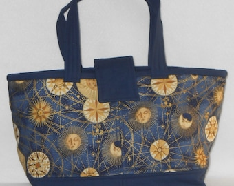 Day Bag - Celestial Print with Navy base and lining