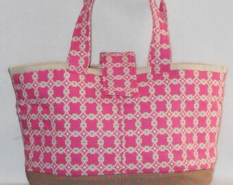 Day Bag - Pink Medallion w/ Beige Lining