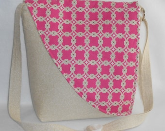 Crossbody Bag - Off white Base with Pink and Tan Teardrop Pattern Flap