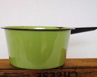 Vintage Chippy Green Enamelware Sauce Pan