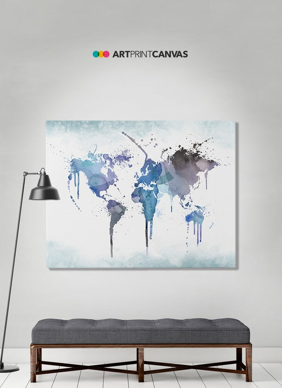World map poster watercolor world canvas map art print art etsy image 0 gumiabroncs Choice Image