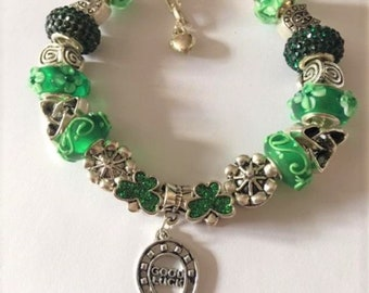 c4affe7be St Patrick's Day Irish Charm Bracelet Luck Shamrock European Bead