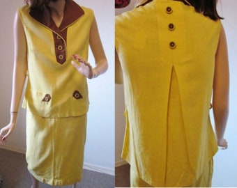 a28ed8eaff46a Vintage 70s 2 Piece Womens 1970 s Suit-Sleeveless Yellow   Brown Linen