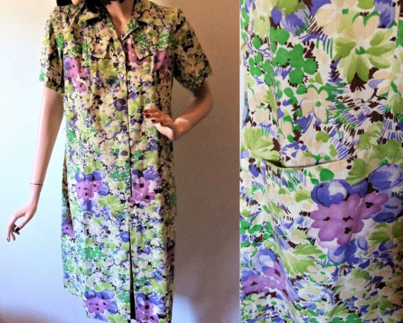 Vintage 1960s Shirtwaist Dress Women's Plus Size S