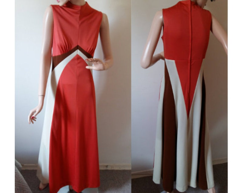 265d9a26 Vintage 70's Maxi Dress Vintage Burnt Orange Dress 1970s | Etsy