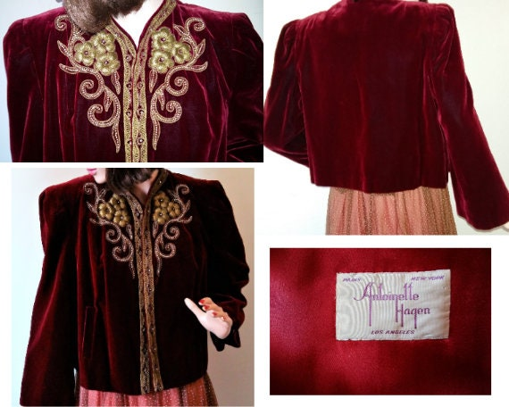 Vintage 1940s Velvet Jacket/ 40's Woman's Evening