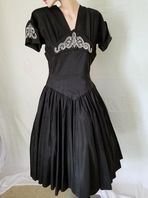 Vintage 1950's Party Dress/Fit & Flare/ 50's Black
