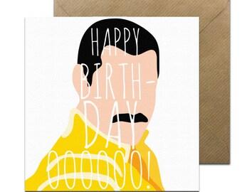 Funny Pop Art Freddie Mercury Card • Freddie Mercury Birthday • Birthday Card •  Funny Birthday Card • Queen Card