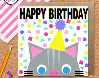 Cat Birthday Card • Cat Card • Cat Greetings Card • Kids card • Best Friend cards • Childrens Card • Cute Birthday Card