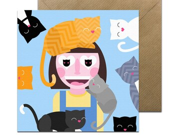 Crazy Cat Lady Card • Cat lover Birthday Card • Cat Card • Funny Cat Card • Cats • Various Designs Card