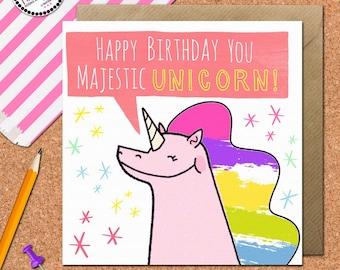 Funny Unicorn Birthday Card • Unicorn Card • Blank Unicorn Greetings Card • Sister • Best Friend • Unicorn • Princess • Unicorn Art