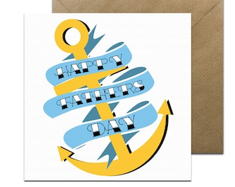 Cool Fathers Day Card • Tattoo Fathers Day Card  • Parents Card • Fathers Day • Dad Birthday • Anchor Card