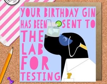 Labrador Gin Card • Labrador Card • Dog Card • Labrador Birthday • Gin Birthday Card • Funny Dog Card • Dog Lover
