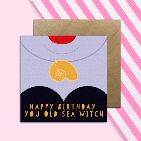 Mermaid Sea Witch Birthday Card Girls