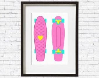 Skateboard Print • Skateboard • Fathers Day gift • Cool Art • Pop Culture Art Print • Pop Art Print • Cool Wall Art • Retro Print • Colour