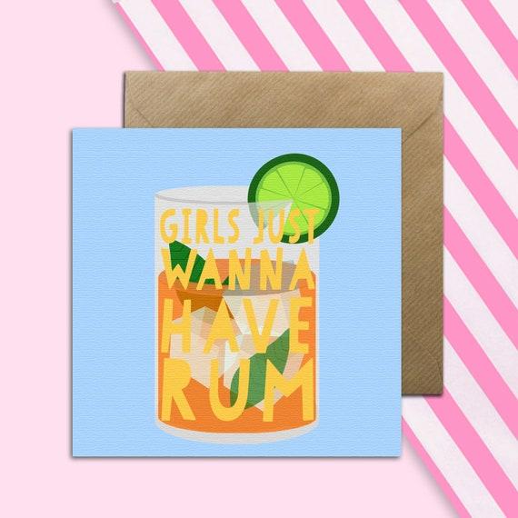 Funny Rum Birthday Card Blank Greetings