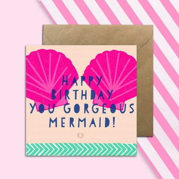 Mermaid Birthday Card Girls Greetings