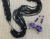 Vintage Embellished Twelve Strand Black Seed Bead Choker