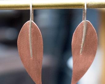 Copper earrings, Leaf earrings, Mixed metal earrings,  Olive Leaf Shape earrings, Copper jewelry, Metalwork earrings, Copper and silver