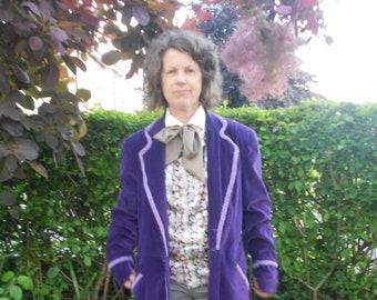 Custom Order Purple Velvet Willy Wonka Frock Coat.