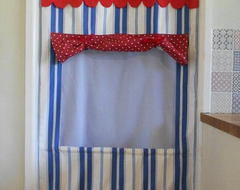 NEW! Doorway Puppet Theatre. Blue and White striped Door Curtain Theatre. Roll Up fabric theatre