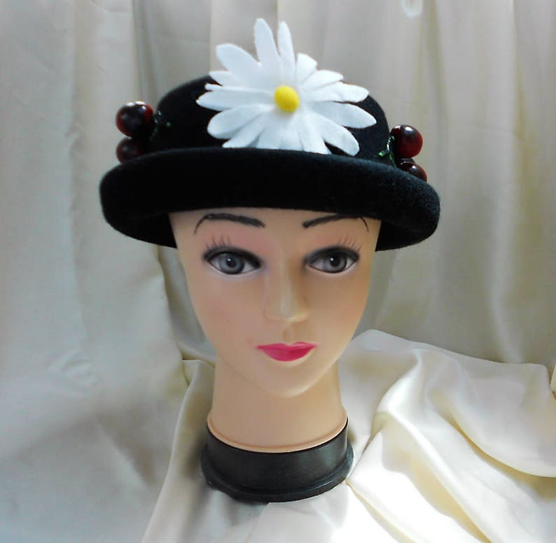 Mary Poppins Hat Schwarze Mütze Edwardian Stil Hut Etsy