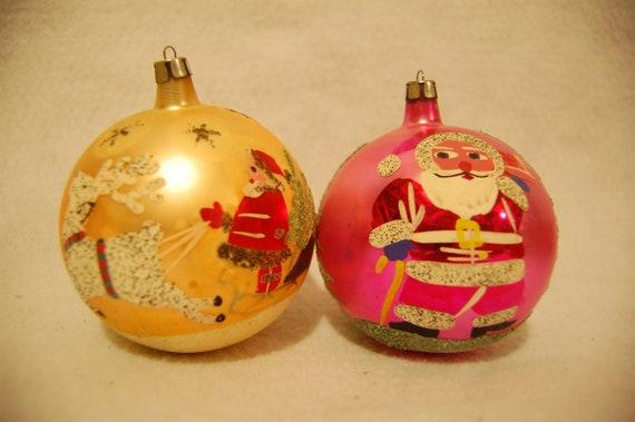 Large Christmas Ornaments.4 Hand Painted Poland Vintage Fantasia Brand Large Christmas Ball Ornaments