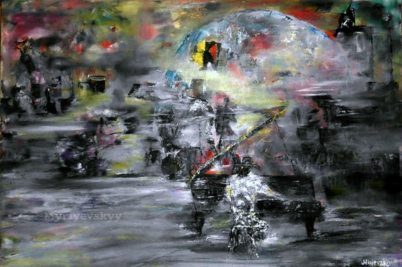 Abstract Musical Wall Art Modern Artwork Jazz Band Painting Expand Your Imagination Painting 16 X 24 40x60cm