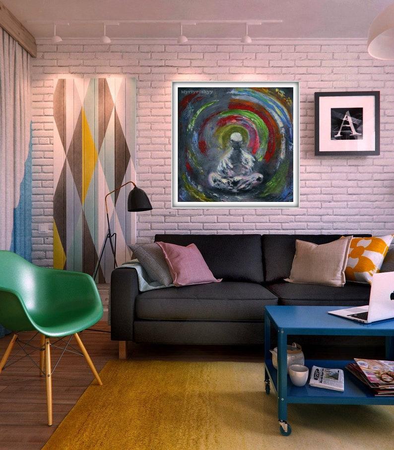 Meditation Abstract Art, Oli Painting for meditation, Buddha Painting,  Original Abstract Wall Art, Radiance meditation, Size: 20'' x 20''