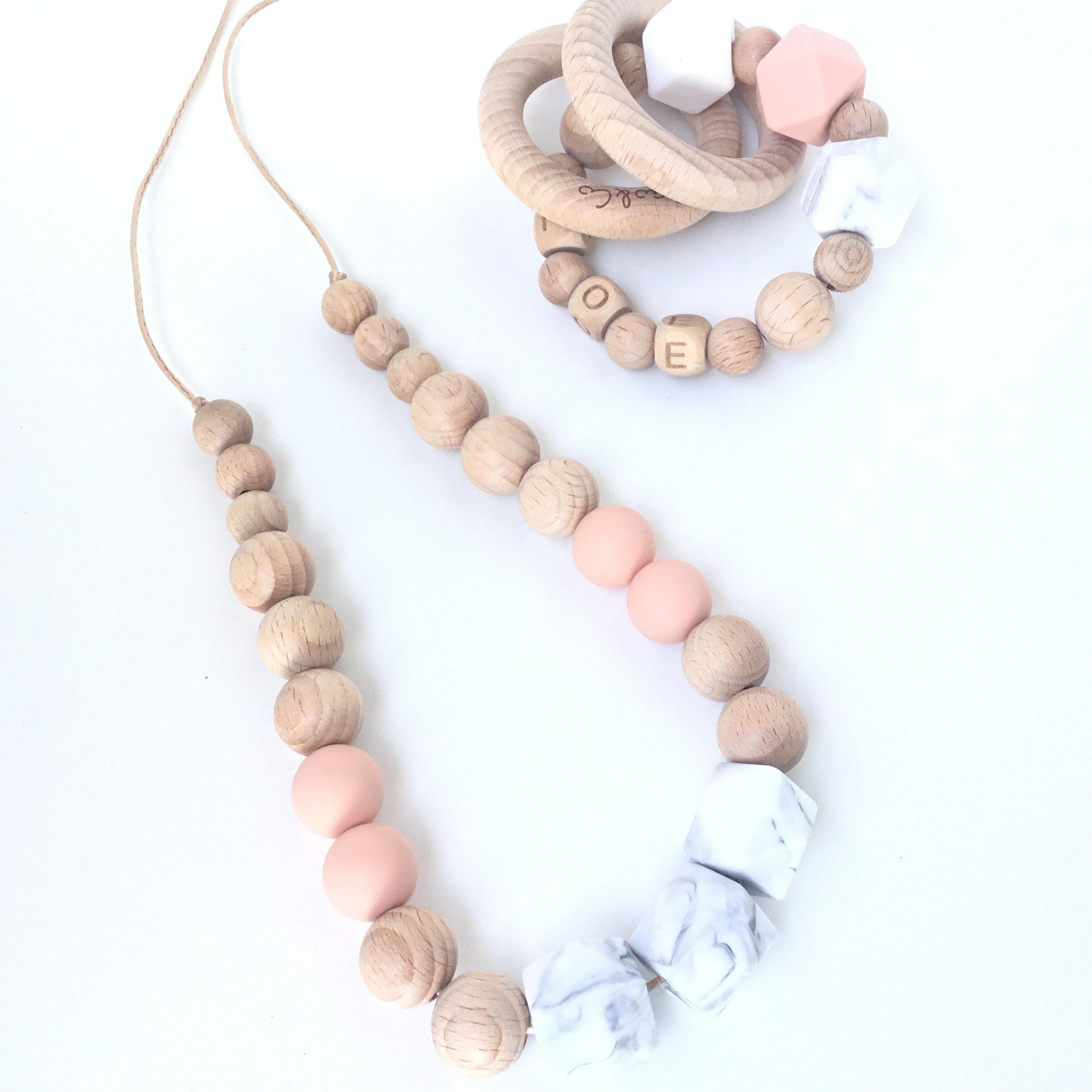 Personalised Teething Ring And Mummy Necklace Etsy