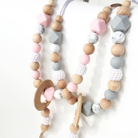 Silicone /& En Bois Amour Coeur mannequin//Sucette Clip ~ 5 couleurs ~ anneau de dentition Sangle