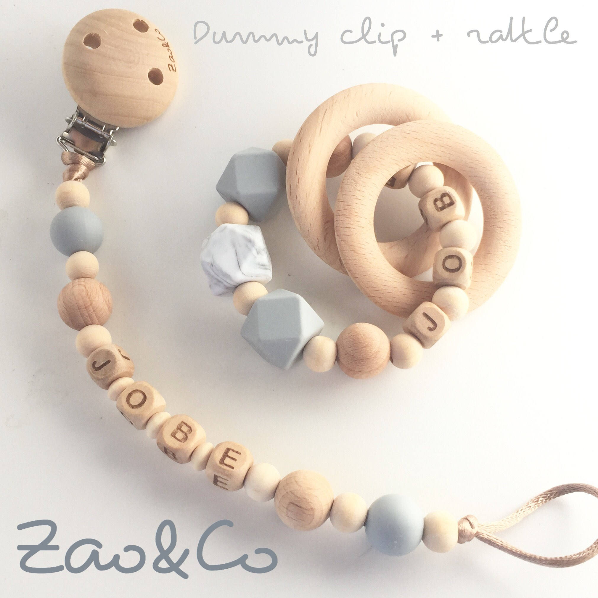 Personalised Teething Ring And Matching Dummy Clip