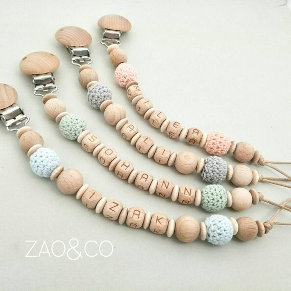 Baby Pacifier Clip Engraved Wooden Natural Beech Wood Pacifier Holder Dummy Clip