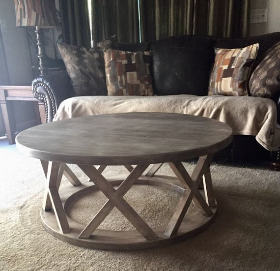 Etsy Round Coffee Tables: 42. Round Rustic X Brace Coffee Tables