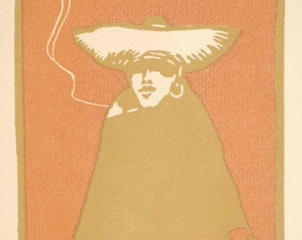 Charles W. Smith Original Color Linocut Brown Serape 1925 in Archival Mat, Unframed
