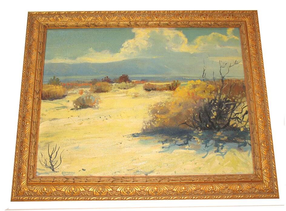 California Artist Edmond F. Woods Beautiful Mid Century Oil Painting Baja  South Of The Border 1954 Custom Frame
