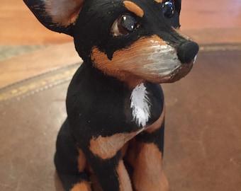 Miniature Pinscher Statue, Dog Sculpture, Memorial, Custom Dog Sculpture, Replica of your Pet, gifts for him, Gifts for her, Pet Lover