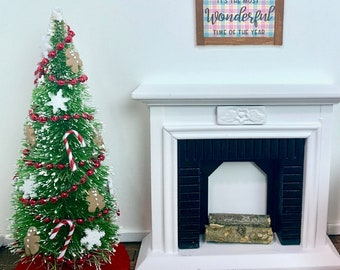 Casa de Muñecas Verde Candy Cane árbol de Navidad Falda Decoración de accesorios de 1:12