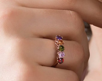Mothers Birthstone Ring - Birthstone Rings - Family Birthstone Ring - Gift For Mom - Multi Birthstones Ring - Mother's Day Gift