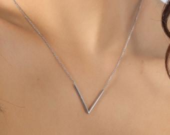 Gold V Necklace - Geometric Necklace - Triangle Necklace - Sterling Silver V Necklace - V Jewelry